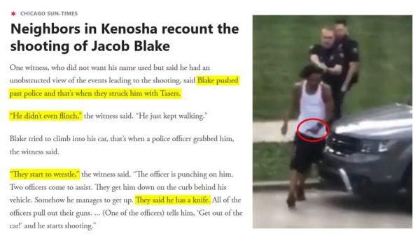 Jacob Blake i policjanci Źródło: Chicago Sun-Times